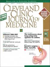 Cleveland Clinic Journal of Medicine: 73 (11)